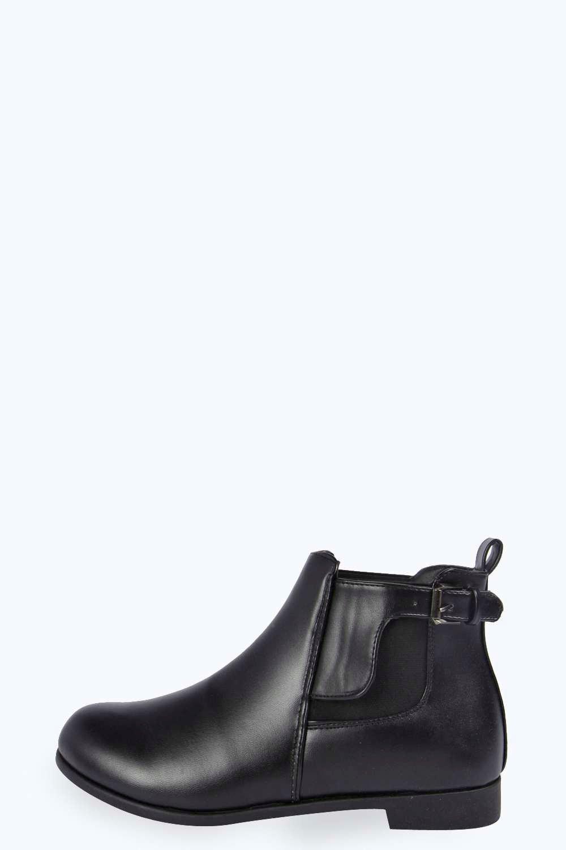 e70e452e47a LOWEST PRICE boohoo Jenni Buckle Trim Ankle Chelsea Boot - black