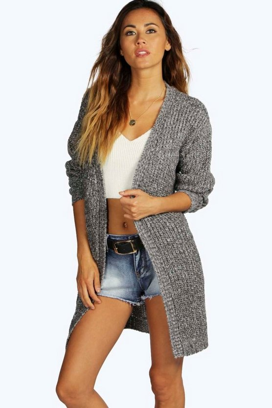 Womens Grey Long Edge To Edge Maxi Cardigan