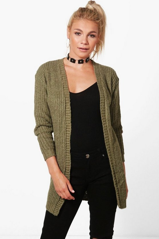 Khaki Long Edge To Edge Grungy Cardigan