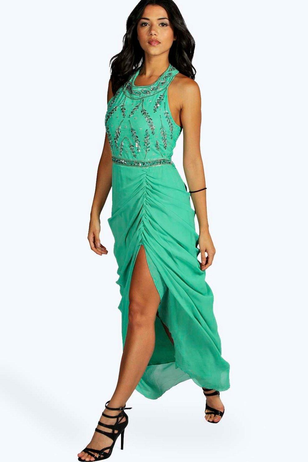 dd75325fbfc5 Sia Boutique Embellished Ruched Maxi Dress | Boohoo