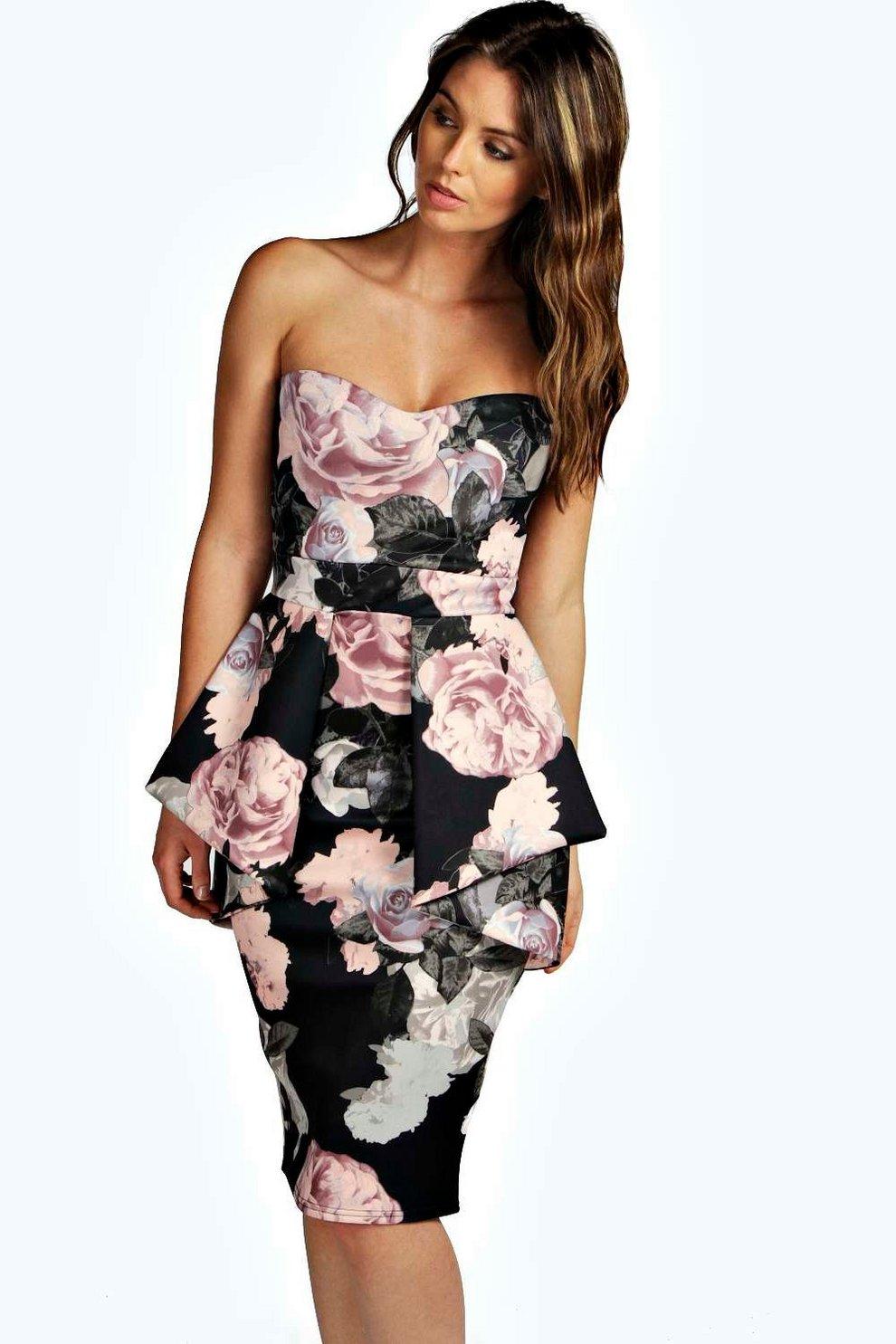 f3ab3510290e Penny Floral Bandeau Peplum Midi Dress | Boohoo