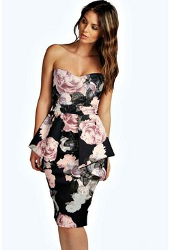 Womens Black Penny Floral Bandeau Peplum Midi Dress