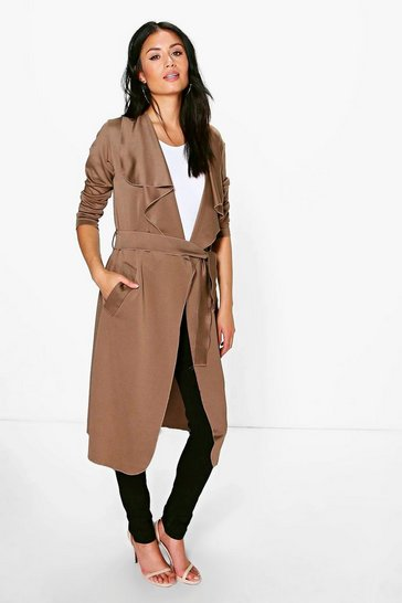 Camel Shawl Collar Belted Duster