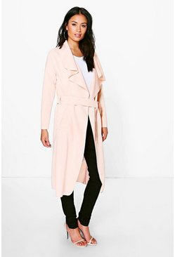 Womens Nude Shawl Collar Belted Duster