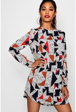 Womens Multi Geo Print Long Sleeve Shift Dress