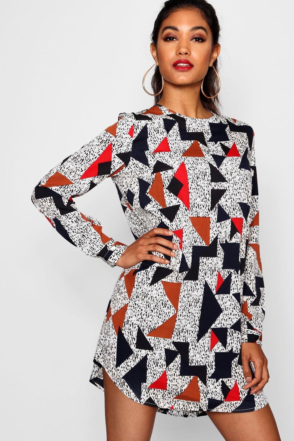d3d2f4a76bb5 Womens Multi Geo Print Long Sleeve Shift Dress. Hover to zoom
