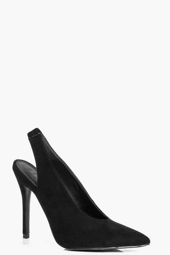 9b7c29793171 Daisy Deep V Slingback Pointed Suedette Heel