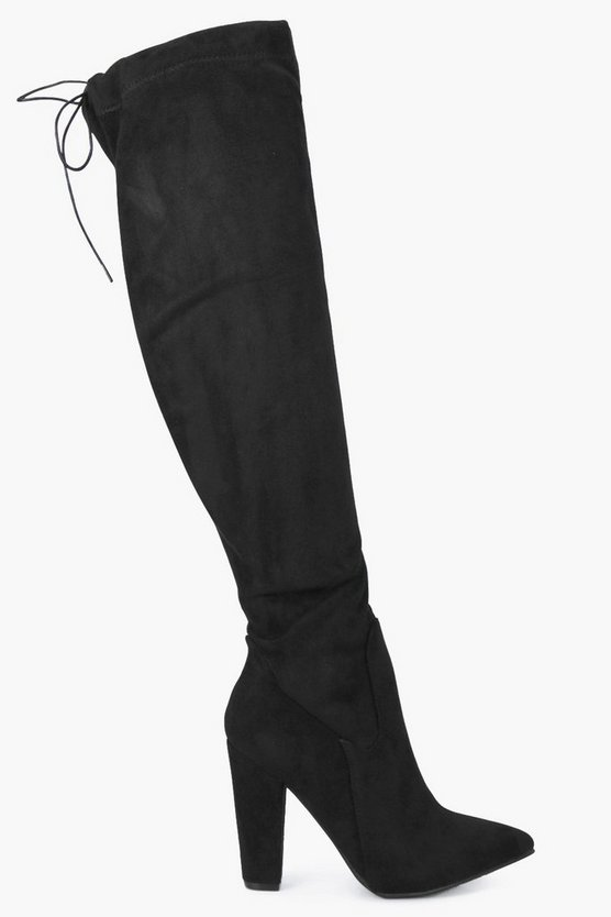Rose Over Knee Pointed Block Heel Boots