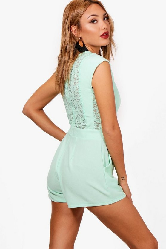 Womens Mint Lace Back Woven Playsuit