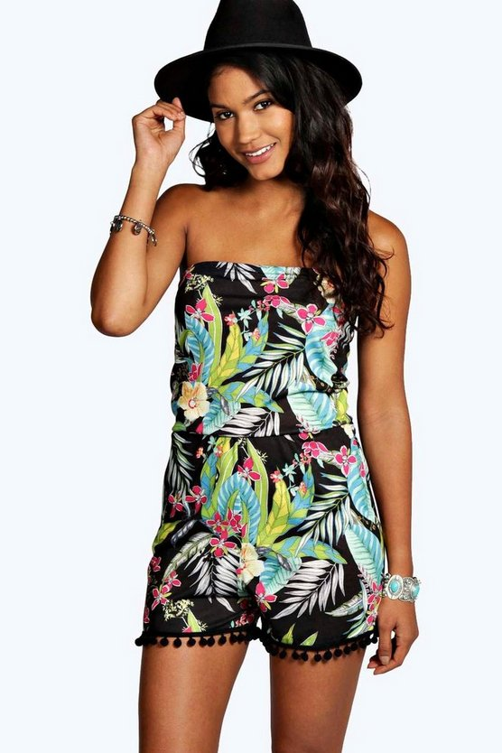Florence Bandeau Tropical Print Playsuit