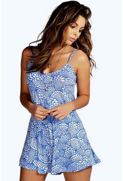 Womens Blue Print Swing Romper