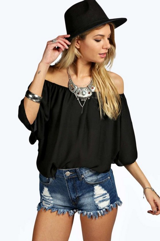 Womens Black Woven Off The Shoulder Top