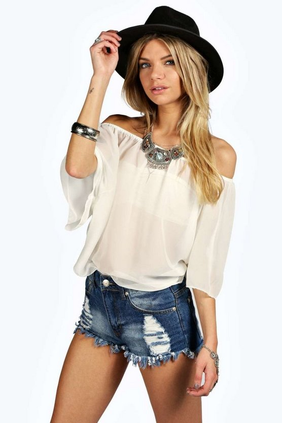 Womens Ivory Woven Off The Shoulder Top
