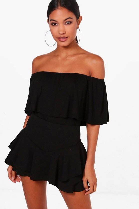 Womens Black Basic Off The Shoulder Frill Crop Top