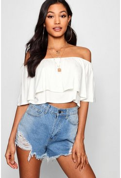 Womens Cream Basic Off The Shoulder Frill Crop Top