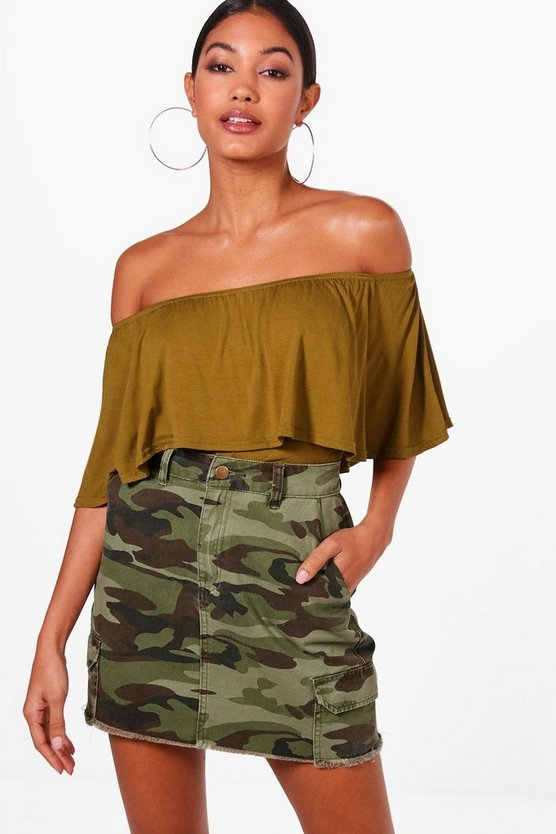 Womens Olive Basic Off The Shoulder Frill Crop Top