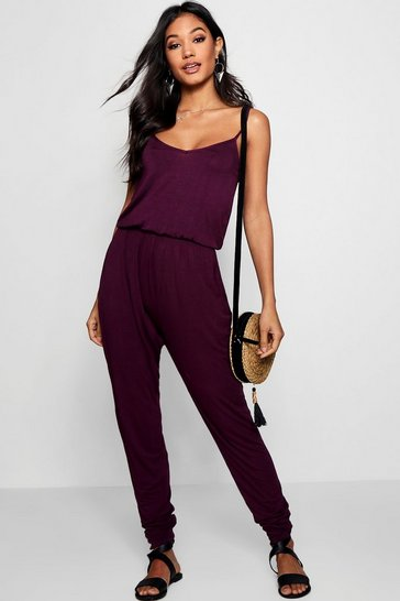 Womens Berry Basic Cami Jumpsuit