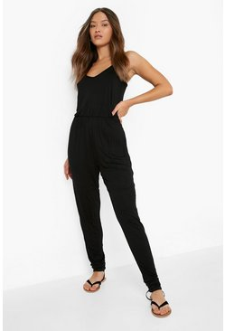 Black Basic jumpsuit med smala axelband