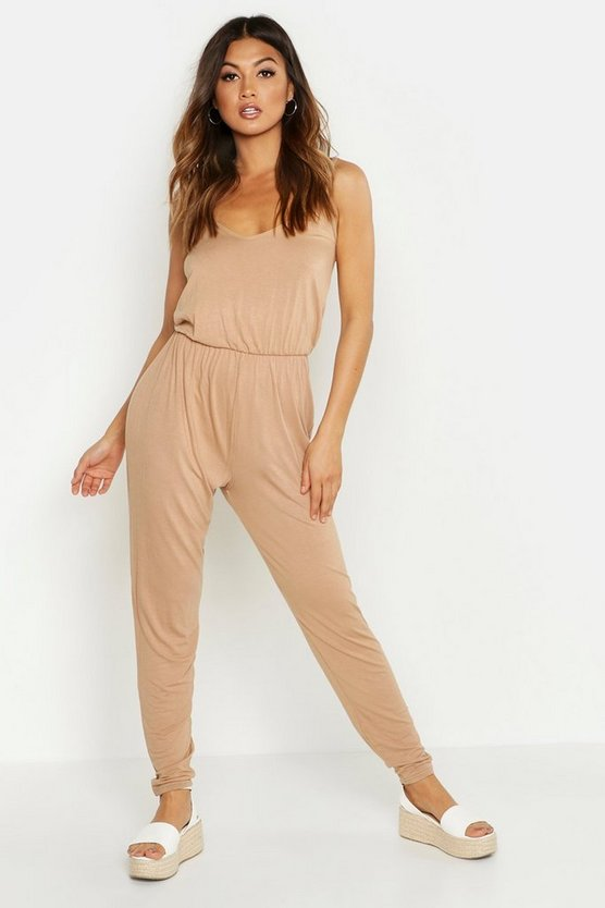 Womens Camel Basic Cami Jumpsuit