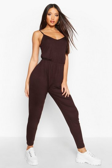 Womens Chocolate Basic Cami Jumpsuit