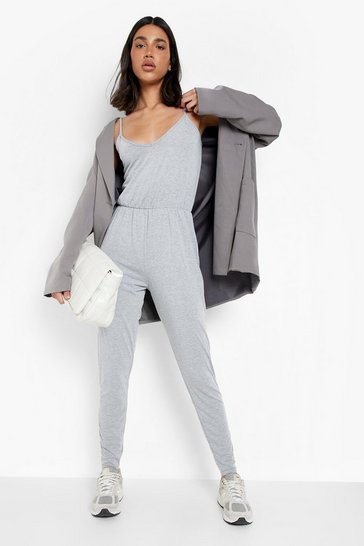 Womens Grey marl Basic Cami Jumpsuit