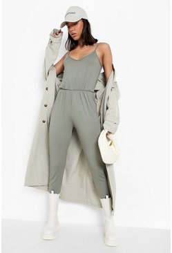 Womens Khaki Basic Cami Jumpsuit