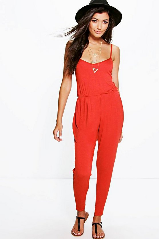 Womens Rust Basic Cami Jumpsuit