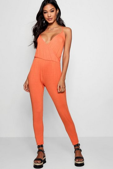 Womens Orange Basic Wrap Front Jumpsuit