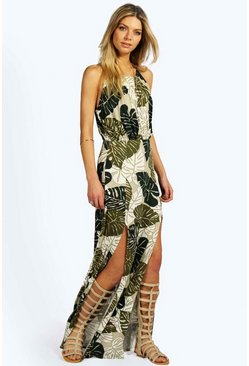 Womens Green Tropical Split Front Maxi Dress