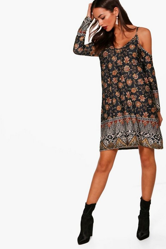 Paisley Cold Shoulder Dress