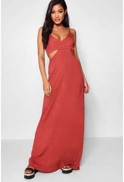 Womens Rust Cut Out Strappy Maxi Dress