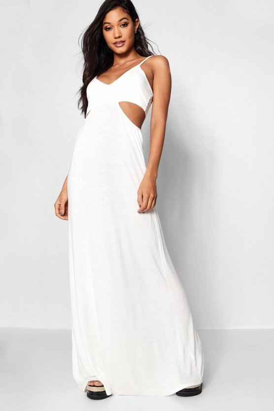 Womens Cut Out Strappy Maxi Dress
