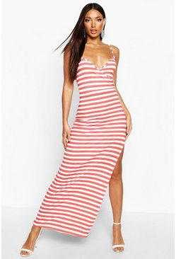 Womens Red Stripe Wrap Front Maxi Dress