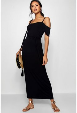 Womens Black Open Shoulder Maxi Dress