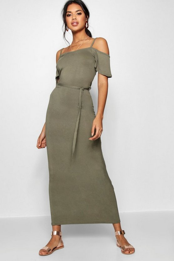 Womens Khaki Open Shoulder Maxi Dress