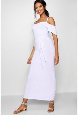 Womens White Open Shoulder Maxi Dress