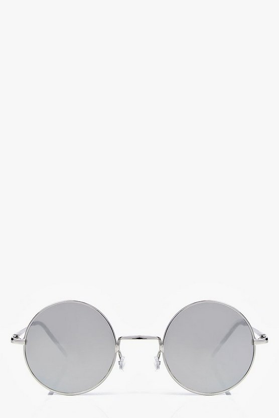 Womens Silver Sarah Round Mirrored Fashion Glasses