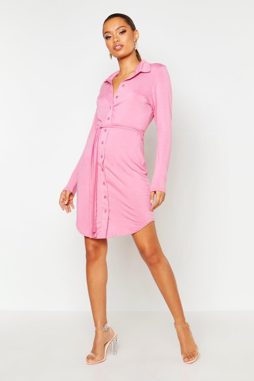 Boohoo Womens Catalina Button Through Collar Shirt Dress ...