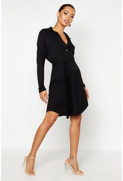 Black Button Through Collar Shirt Dress