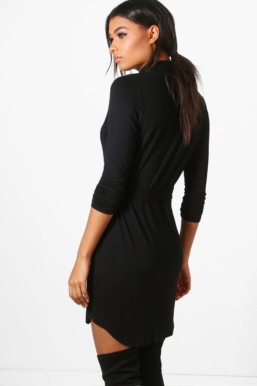 boohoo catalina robe chemise boutonn e col pour femme ebay. Black Bedroom Furniture Sets. Home Design Ideas