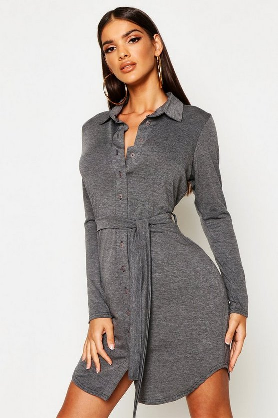 Womens Charcoal Button Through Collar Shirt Dress