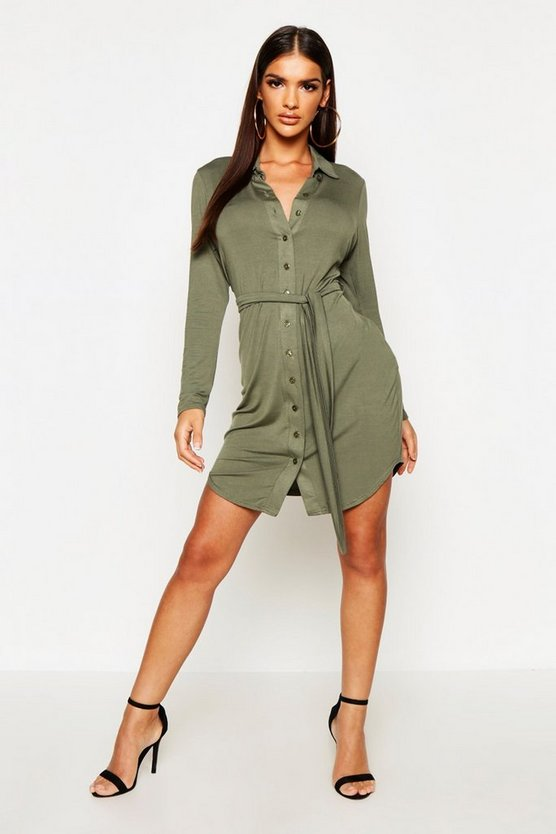 Womens Khaki Button Through Collar Shirt Dress
