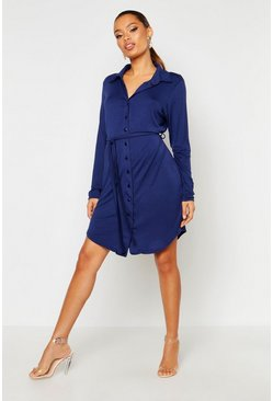 Womens Midnight Button Through Collar Shirt Dress