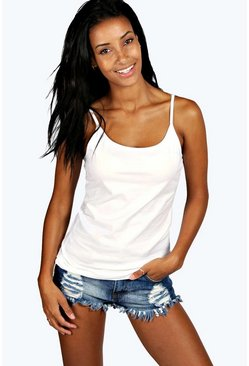 Womens White Strappy Basic Vest