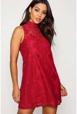 Berry Lace High Neck Shift Dress