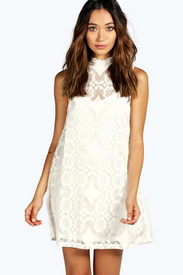 Womens White Lace High Neck Shift Dress
