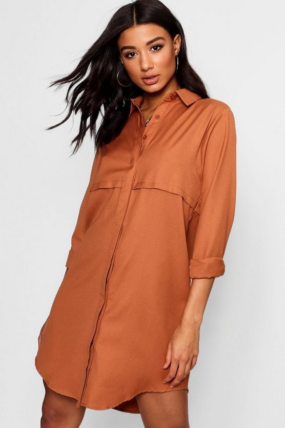Womens Camel Double Placket Woven Shirt Dress