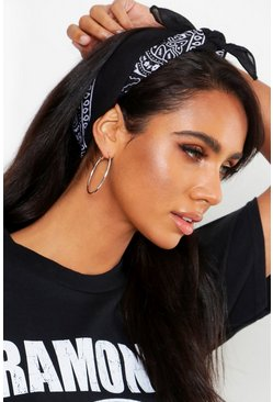 Womens Black Bandana Print Headscarf Neckerchief