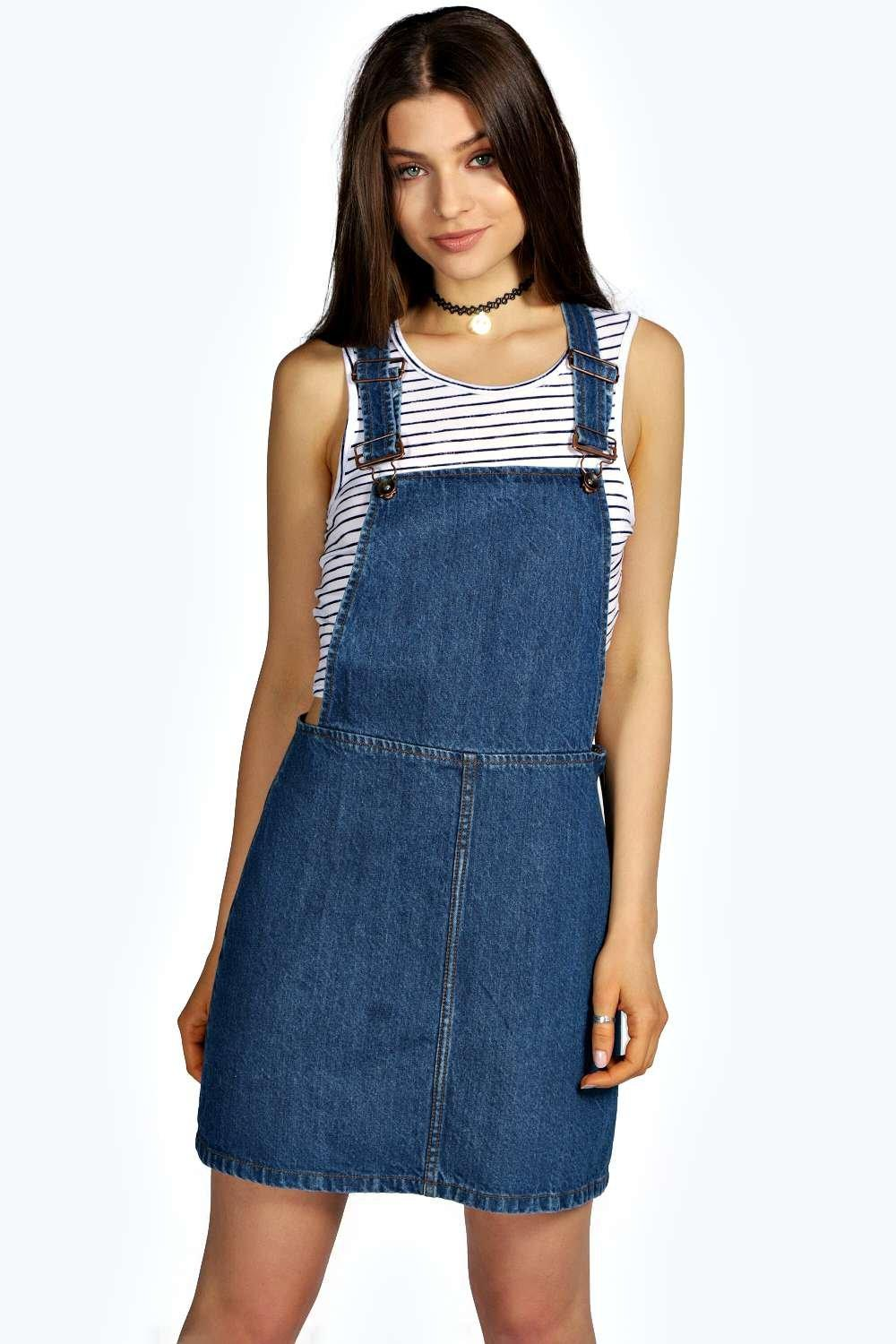 7fdd3082f23 India Denim Dungaree Pinafore Dress. Hover to zoom