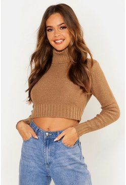 Womens Camel Turtle Neck Crop Jumper